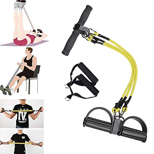 Ablita Fitness Widerstand Zug Seile Fuß Bänder Latex Pedal Trainer Frauen Männer Sit-Up Yoga Ausrüstung - Gelb (Yoga-ausrüstung Für Frauen)