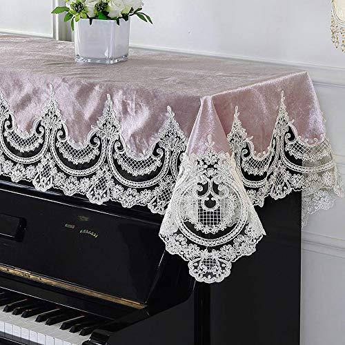 Contactsly-home Klavier-Überzug mit modernem, minimalistischem Klaviertuch aus Spitze, für Klavier/Piano, mit Stickerei, maschinenwaschbar, Stoff, Rose, 90x200cm