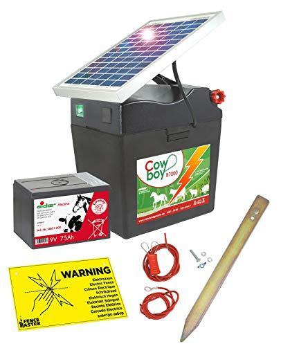 Eider Solar Weidezaungerät Cowboy B 7000 mit 5 Watt Solarmodul & 9V Batterie Alkaline, 75 Ah - verlängerte Batterielaufzeit durch Moderne Solartechnik - erste Wahl für Pferde- & Ponyzaun