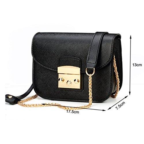 Damen Kleine Quadratische Tasche Schulter Messenger Schloßkette Paket,Beige Black