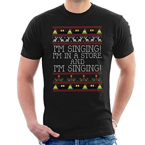 Im Singing Elf Quote Christmas Knit Men's T-Shirt Black