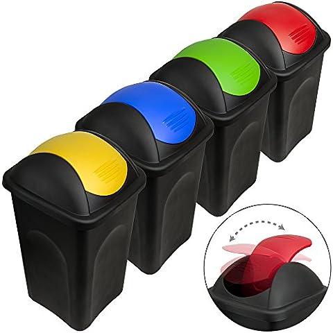 Stefanplast® 4x 60L Set Abfalleimer mit Schwingdeckel 68 x 41 x 41cm - Mülleimer Papierkorb Abfallbehälter Restmüll Müllbehälter