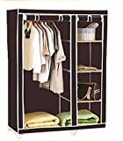 #9: Portable Foldable Clothes Closet Wardrobe Non-woven Fabric Multipurpose Storage Organizer Cupboard Black Almirah By Krishyam