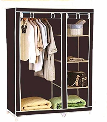 Portable Foldable Clothes Closet Wardrobe Non-woven Fabric Multipurpose Storage Organizer Cupboard Black Almirah By Krishyam  available at amazon for Rs.1699