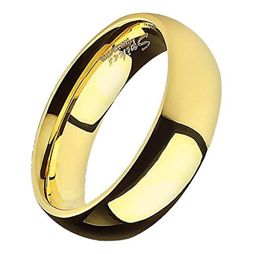 Piersando Band Ring Edelstahl Bandring Ehering Partnerring Trauring Verlobungsring Damen Herren Freundschaftring Gold Größe 72 (22.9) Breit 8mm