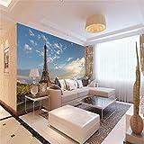 Poster Gigante Torre di Parigi 3D Non tessuto Carta da parati fotografica murale Adatto a decorazione del salone della camera da letto 200CMx140CM