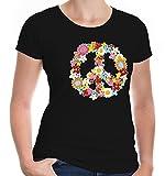 buXsbaum Damen Girlie T-Shirt Peace Flower Symbol   Frieden Blumen Hippie Festival