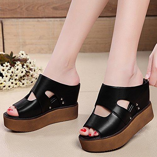 ZPPZZP Ms sandali pantofole spessa stile Coreano selvaggi a tacco alto 35EU nero 35EU