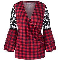 LILICAT✈ Blusa con Cuello en V a la Moda con Cuello en V Causal de Las Mujeres Camisa a Cuadros de Manga Larga con Cuello en V de Encaje Blusa Suelta Top Blusas
