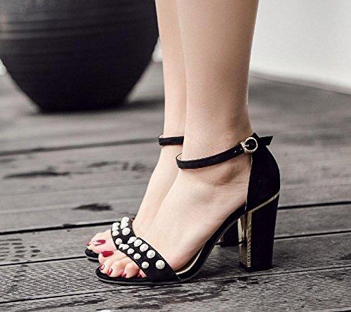GLTER Womens Mid Toe tacco peep signore della caviglia partito della cinghia Sandali Pearl pompe décolleté Rosso Nero Black