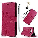 BADALink Hülle für Samsung Galaxy Note 8 Rosarot Handyhülle Leder PU Case Cover Magnet Flip Case Schutzhülle Kartensteckplätzen und Ständer Handytasche mit Eingabestifte und Staubschutz Stecker
