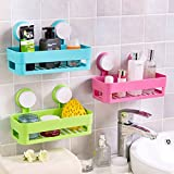 #8: ASkyl Set of 2 BATHROOM DUAL CADDY / SHELVE - Strong Suction Shower Caddy Bathroom Shelf Storage Organization with Rack Basket Sucker Cup for Shampoo, Conditioner, Soap by ASkyl