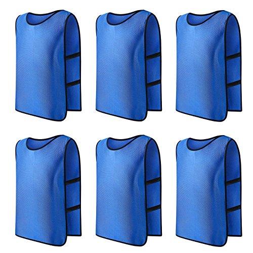 Panegy 6x Sport Leibchen für Fußball Basketball Markierungshemd Fußball Trainingsleibchen Fußballtraining Scrimmage Weste Trikots für Erwachsene in Blau