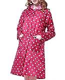 Regenmantel Damen WasserdichtTupfen Regenjacke Poncho Regen Regenjacke Damen Regencape Damen Regenmantel Regenponcho Wasserdicht Raincoat mit Punkten (Rot)