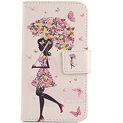 "Lankashi Housse Case Cuir Cover Flip Etui Coque Protection Skin Pour SFR Starxtrem 5 5.5"" Umbrella Girl Design"