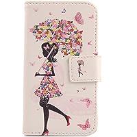 Lankashi PU Flip Funda De Carcasa Cuero Case Cover Piel Para Cubot X9 Umbrella Girl Design