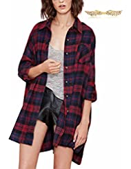 BYD Mujeres Largo Camisa Cuadros Blusas Camisetas Manga Larga Tops T shirt Túnica para Otoño