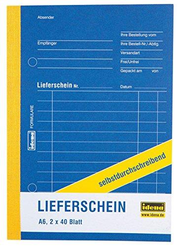 Idena 314253 - Lieferscheinbuch, DIN A6 selbstdurchschreibend, holzfreies Papier, 2 x 40 Blatt
