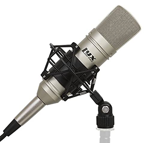 LyxPro LDC-10 Cardioid Condenser Studio Microphone with Shockmount & Cable for Professional Home