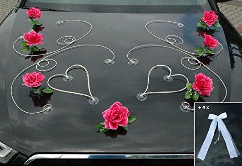 Autoschmuck Dekor Auto Schmuck Braut Paar Rose Deko Dekoration Hochzeit Car Auto Wedding Deko PKW (Pink/Weiß) (Dekor Hochzeiten Für)