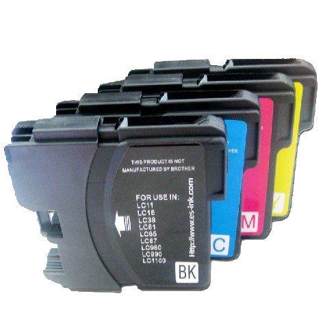 TIAN - 4 Kompatibel Brother Drucker Patronen LC980 LC1100 für Brother DCP-145C DCP-163C DCP-165C Drucker etc.