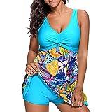 iBaste Tankini Damen Badeanzug mit Röckchen Badekleid mit Shorts Bademode Damen große größen Swimsuit-2XL