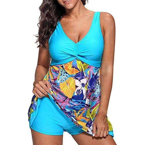iBaste Tankini Damen Badeanzug mit Röckchen Badekleid mit Shorts Bademode Damen große größen Swimsuit-XL