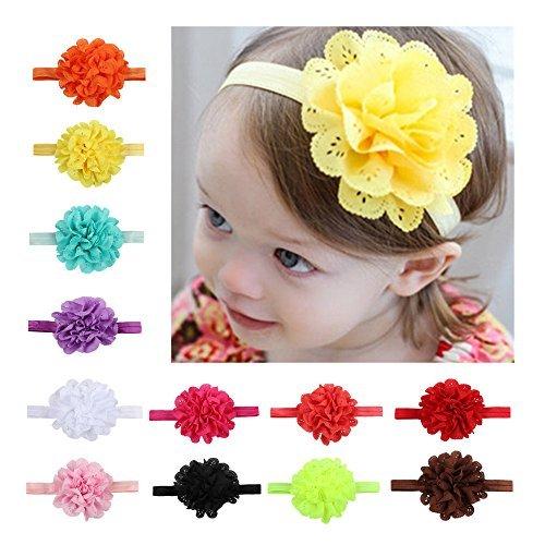 CHSEEA 12 Stück Baby Stirnbänder Elastische Haarband Turban Kleinkind Stirnband Haar Bogen Fliege Schleife Haarreifen Mädchen Head Wrap zur Kostüm Fotografie Props ()