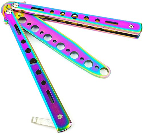 BOKHAMMER Rainbow Butterfly Balisong Trainer Übung Messer -