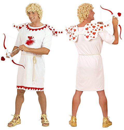 Party-Teufel Komplett Kostüm Amor Liebesgott Eros Gr. L Cupido Herren mit Tunika Gürtel Flügel Pfeil & Bogen Blonde Perücke Karneval (Cupid Kostüm Männer)