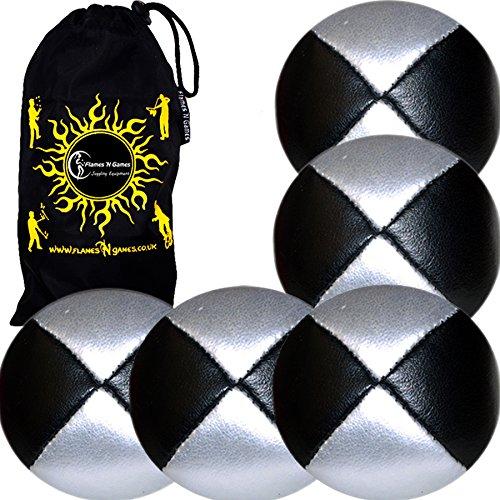 Jonglierbälle 5er Set - Profi Beanbag Bälle aus Glattleder (Leather) + Reisetasche. Set Ideal Für Anfänger Die Auch Für Profis. (Schwarz/Silber)