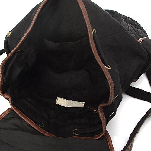 multi-funzione borsa zaino custodia tela forte a spalla a tracolla a zainetto scuola trekking spiaggia per uomo donna molto bello e alla moda sku 01 (Verde) Nero
