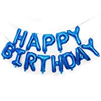 Qivange Happy Birthday Balloons 16 Inch Hanging Alphabet Balloons Foil Banner Bunting Balloon for Party Decoration, Blue ...