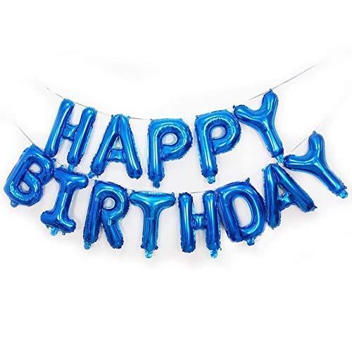 (Warmiehomy Geburtstag Luftballons, geburtstagsdeko für Mädchen Junge und rwachsene, Happy Birthday Balloons 16 Zoll Hängender Alphabet Folien Banner Ballon für Partydekoration, Blau)