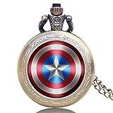 Montre à Gousset Marvel Comics Captain America Shield Weapon The First Avenger Pocket Watch Steampunk Quartz Montres Cadeaux pour La Nouvelle Année