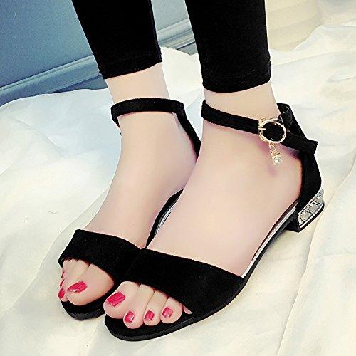 XY&GKDamen Sandalen Damen Sommer Schuhe 38 black