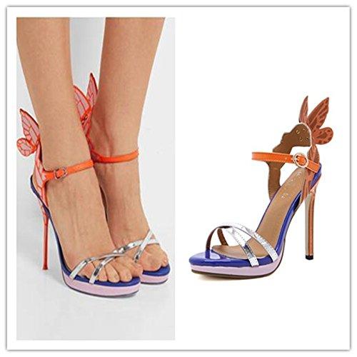 GS~LY Regali Festa della mamma L Europa e gli Stati Uniti angel wings decorate con tacco alto sandali di colore Black
