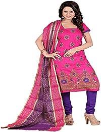 Jheenu Women's Rani Chanderi Top Embroideredand Fancy Dupatta Straight Unstiched Dress Material