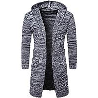 Hombres Slim Fit Encapuchados Suéter de Punto de Cardigan Trench largo Abrigo Chaqueta By VENMO