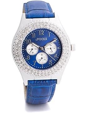 Baciami .POOLS 1417 Damen-Armbanduhr im Chronograph-Look, Echtleder-Band, Blau Silber, im Kristall-Look, Stainless...