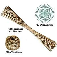 ORANGE DEAL 100 Pflanzstäbe | 90 cm Lang | aus Bambus | Ø 6 mm | 40 Pflanzenbinder | 30m Bindfaden | zu Verwenden als Blumen-, Rank- Oder Pflanzstäbe | Sehr Stabil