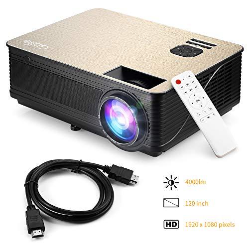 Beamer 4000 Lumen Video Projektor Gblife Full HD 1920x1080 Pixel LED Projektor Hohe Helligkeit Multimedia Movie Heimkino Surroundsound-System Kompatibel mit Fire TV Stick, PS3, PS4, HDMI, USB usw.
