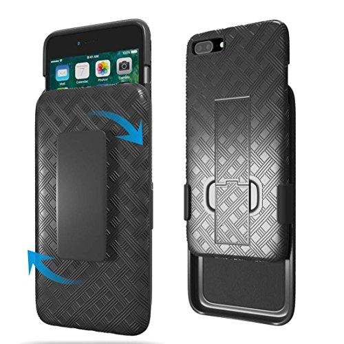 iPhone 8Plus Fall, iPhone 7Plus Fall, Rom Tech OEM Schutz Slim Handy Case mit Ständer Clip Holster für Apple iPhone 8Plus und iPhone 7Plus-Schwarz -