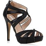 Damen Glitzer High Heels Plateau Sandaletten Party Schuhe