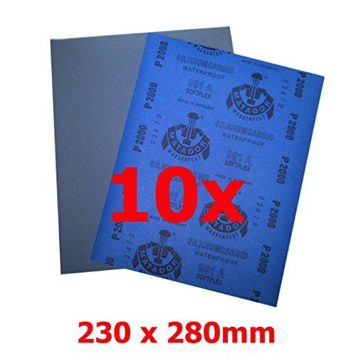 Lot de 10 feuilles de verre Matador M991, résistantes à l'eau, 230 x 280 mm P5000