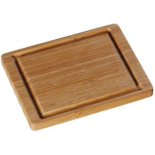 WMF Schneidebrett Holz klein, 26 x 20 cm, Bambus naturbelassen, Holzbrett rechteckig - Tranchierbrett mit Saftrille - Küchenbrett klingenschonend