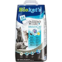 Biokats Diamond Care Multicat Fresh Katzenstreu mit Duft | staubfreie Klumpstreu mit Aktivkohle und Cotton Blossom Duft | 1 Sack (1 x 8 L)