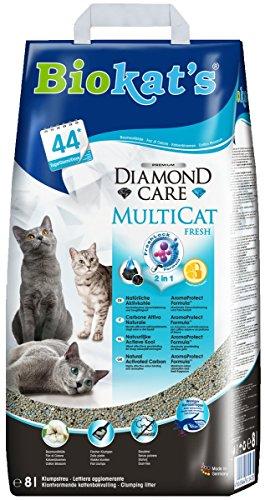 Biokat\'s Diamond Care Multicat Fresh Katzenstreu mit Duft | staubfreie Klumpstreu mit Aktivkohle und Cotton Blossom Duft | 1 Sack (1 x  8 L)