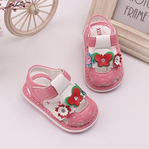 Igemy 1Paar Kleinkind Baby Neue Blumen Mädchen Sandalen Mit Sound Soft Soled Baby Schuhe Sandalen Rosa