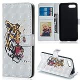 Huawei Honor 10 Hülle,ZCXG Hülle Leder 3D Muster Flip Dünn Tasche mit Magnetverschluss Kartenfach Klappbar Brieftasche Mädchen Handyhülle Huawei Honor 10 Hülle Silikon Schwarz Innere Tiger